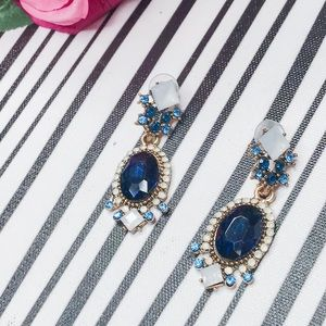 Jewelry - Blue and White Jeweled Statement Earrings